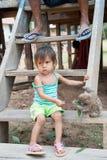 Bradipo di alimentazione dei bambini con le foglie verdi sulle scale di legno Fotografie Stock Libere da Diritti