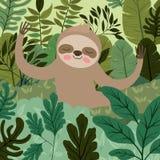 Bradipo nella scena della giungla royalty illustrazione gratis