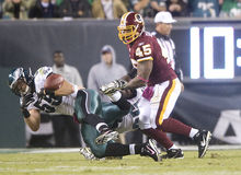 Bradley. Eagles Stewart Bradley (55) almost intercepts a pass intended for Redskins Mike Sellers Stock Photos
