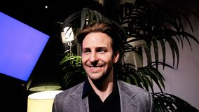 Bradley Charles Cooper wax figure. LAS VEGAS NV - Oct 09 2017: Bradley Charles Cooper wax figure with movie set from HANGOVER movie at Madame Tussauds museum in Royalty Free Stock Photo