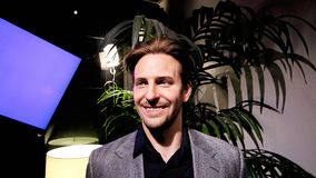 Bradley Charles Cooper wax figure. LAS VEGAS NV - Oct 09 2017: Bradley Charles Cooper wax figure with movie set from HANGOVER movie at Madame Tussauds museum in Stock Image