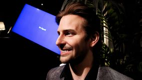 Bradley Charles Cooper wax figure. LAS VEGAS NV - Oct 09 2017: Bradley Charles Cooper wax figure with movie set from HANGOVER movie at Madame Tussauds museum in Stock Photo