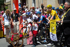 Bradley Wiggings. SAMATAN, FRANCE- JULY 16: Cyclists at the departure of the 15th stage of the Tour de France, from Samatan to Pau, on July 16, 2012 in Samatan Stock Image