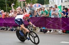 Bradley Wiggins i det olympiska tidprovet Arkivbilder