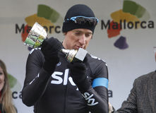 Bradley Wiggins. Skyteam cycling team rider former Tour de France 2012 winner Sir Bradley Wiggins receive his trophy during the mallorca tour challenge cycling Stock Photography
