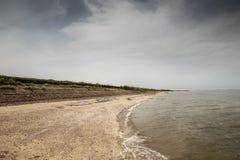 Bradwell-on-Sea coastline. Landscape image of english coastline looking along  Bradwell-on-Sea Stock Photos