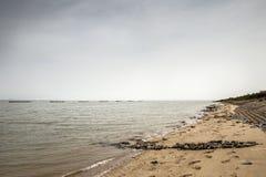 Bradwell-on-Sea coastline. Landscape image of english coastline looking along  Bradwell-on-Sea Stock Image