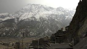 Braga Gompa village in Nepal stock video footage