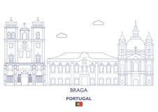 Braga Linear City Skyline, Portugal Royalty Free Stock Photos