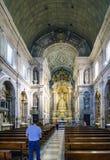 Braga, Portogallo 14 agosto 2017: navata principale della chiesa del Fotografia Stock Libera da Diritti