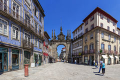 Braga, Portugal. Arco da Porta Nova Gate. Braga, Portugal - July 27, 2015: Arco da Porta Nova Gate. A Baroque Monumental Arch built in the 18th century to be the Royalty Free Stock Image