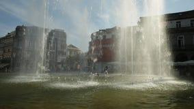 Republic Square Braga. Braga, Portugal - August 12, 2017: fountain at Medieval Republic Square or Praca da Republica known as Arcade. Tourist office on stock video footage