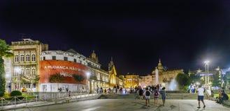 Braga, Portugal 14 augustus, 2017: Nachtscène van de Republiek Pl stock fotografie