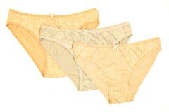 Bragas del algodón del ` s de las mujeres florecidas aisladas en el fondo blanco Imagen de archivo libre de regalías