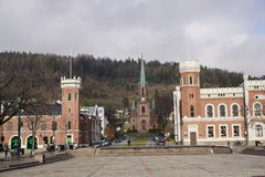 Bragernes, Drammen. Bragernes church and the two tower buildings as seen from Bragernes market square in the centre of Drammen Stock Images