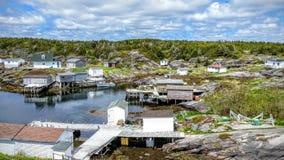 Bragg的海岛,纽芬兰的渔社区 库存照片