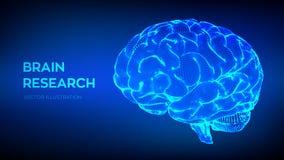 bragg исследование человека мозга концепция науки и техники 3D сеть нервная Испытание IQ, искусственный интеллект иллюстрация штока