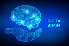 bragg Мозг цифров в руке концепция науки и техники 3D Нервная система Испытание IQ, искусственный интеллект виртуальный иллюстрация штока