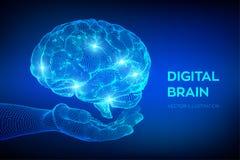 bragg Мозг цифров в руке концепция науки и техники 3D Нервная система Испытание IQ, искусственный интеллект виртуальный бесплатная иллюстрация