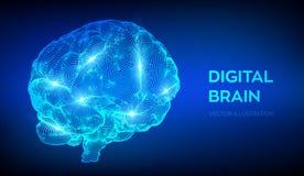 bragg Мозг цифров концепция науки и техники 3D Нервная система Испытание IQ, эмулирование искусственного интеллекта виртуальное иллюстрация вектора