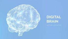 bragg Мозг цифров концепция науки и техники 3D Нервная система Испытание IQ, эмулирование искусственного интеллекта виртуальное бесплатная иллюстрация