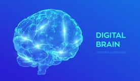 bragg Мозг цифров концепция науки и техники 3D Нервная система Испытание IQ, искусственный интеллект виртуальный иллюстрация штока