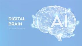 bragg Мозг цифров концепция науки и техники 3D Нервная система Испытание IQ, эмулирование искусственного интеллекта виртуальное иллюстрация штока