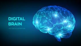 bragg Мозг цифров концепция науки и техники 3D сеть нервная Испытание IQ, эмулирование искусственного интеллекта виртуальное иллюстрация вектора