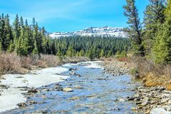 Bragg Creek flowing through clearwater County. Low water levels and blue skies Stock Image