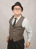 Bragging Man in Eyeglasses Royalty Free Stock Images