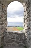 brahehus城堡废墟 免版税库存照片