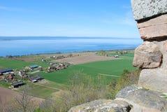 Brahehus-Ansichtlandschaft und -ackerland Stockfoto