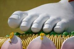 brahma脚大白色雕象在莲花的在泰国的公开寺庙 免版税库存照片