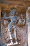 Brahma, бог создателя, третья ниша на основании Агры-mandapa, виска Airavatesvara, Darasuram, Tamil Nadu стоковое изображение rf