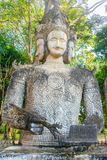 Brahma: the angel of destiny at Sala Keoku, the park of giant fa. Sala Keoku, the park of giant fantastic concrete sculptures inspired by Buddhism and Hinduism Royalty Free Stock Photos