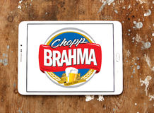 Brahma beer logo. Logo of beer drinks company brahma on samsung tablet on wooden background Stock Images