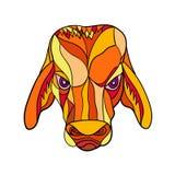 Brahma Bull Head Mosaic Color stock illustration
