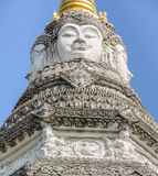 Brahma faces on top of the Chedi, Thailand Stock Image