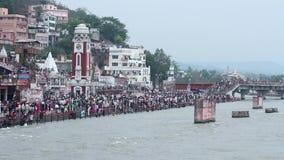 Brahma Ghat en Haridwar almacen de metraje de vídeo