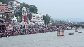 Brahma Ghat at Haridwar stock video footage