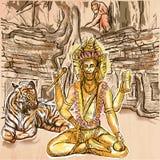 brahma god Un tiré par la main Schéma illustration stock