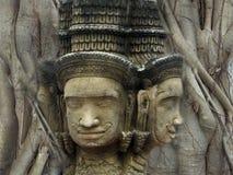 Brahma head status religion art embed in the bodhi tree backgrou Royalty Free Stock Image