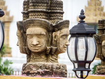 Brahma head status religion art in the temple at banglamung city. Thailand Stock Photography