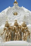 Brahma, Vishnu and Shiva. Hindu Trimurti: Gold Statues of Brahma, Vishnu and Shiva, the Great Trinity of Hinduism stock photography
