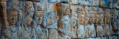 Brahman Buddha stone Carvings at Borobudur temple Royalty Free Stock Images