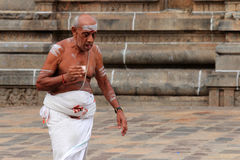 Brahmanprästen skriver in den Nataraja templet Arkivfoto