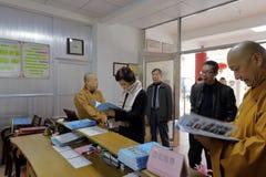 Brahmatempel van het Mej. huangling bezoek Royalty-vrije Stock Foto's