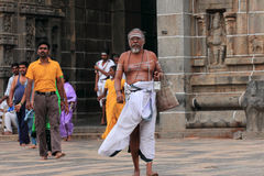 Brahmin priest enters the Nataraja temple Royalty Free Stock Photos