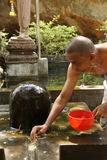 Brahmin priest offers puja Stock Images