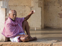 Brahmin Priest Spinning Thread. Royalty Free Stock Photo